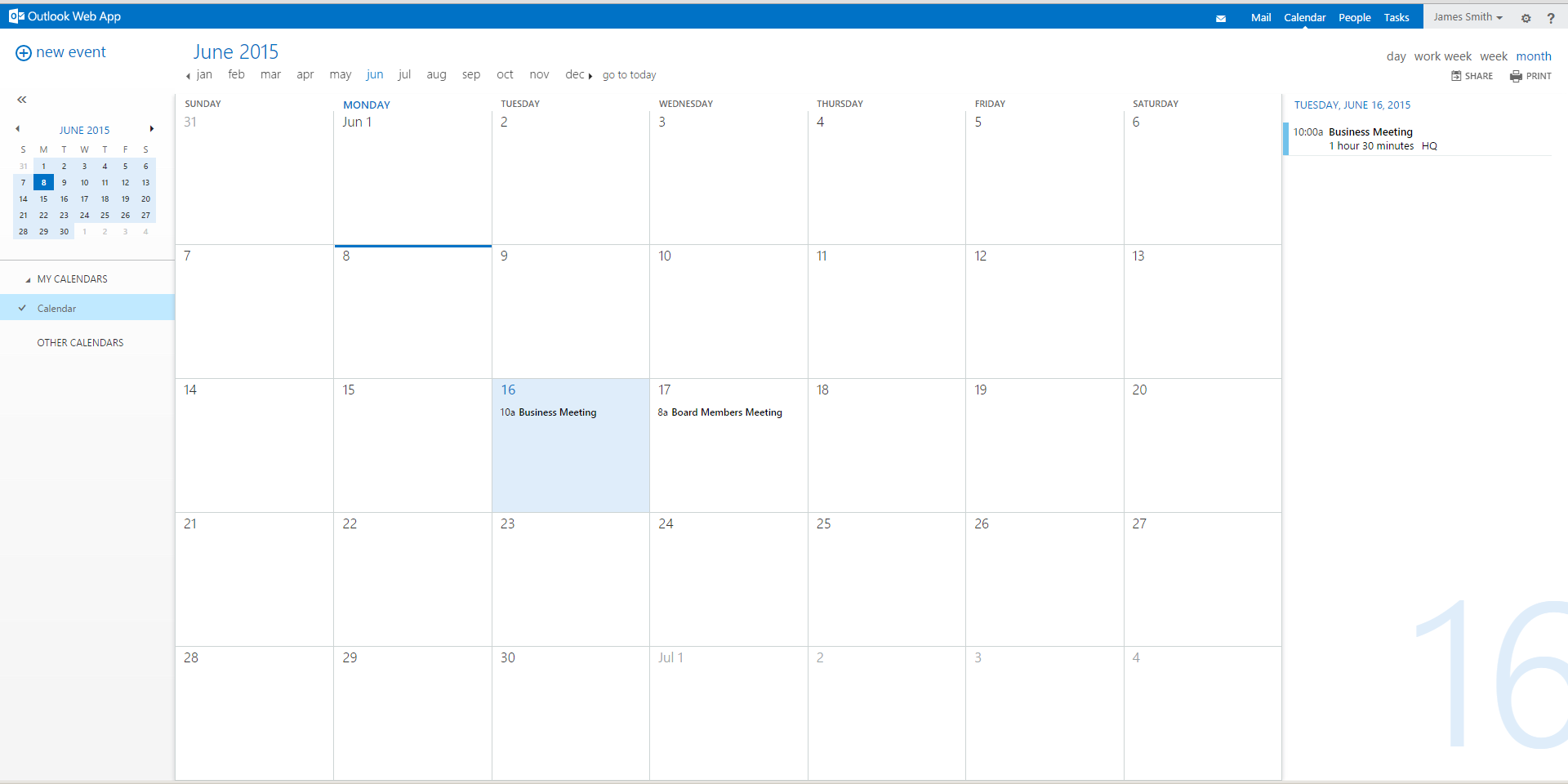 Calendar Overview : Hes neocloud